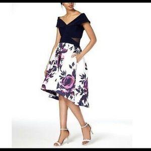 Xscape Navy Blue Floral Dress